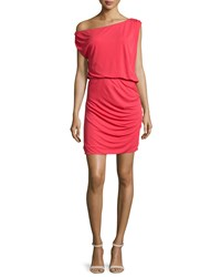 Halston One Shoulder Ruched Cocktail Dress Poppy