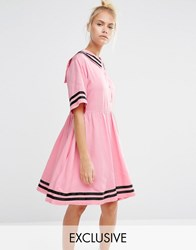 Lazy Oaf Sailor Dress With Introvert Embroidery Pink