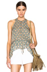 Derek Lam 10 Crosby Ruffle Tank In Blue Brown Floral