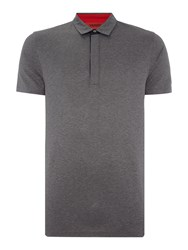 Hugo Dellos Mercerised Cotton Jersey Polo Charcoal