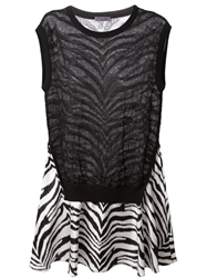 Emanuel Ungaro Zebra Print Flared Dress Black