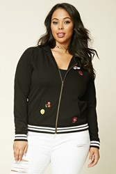 Forever 21 Plus Size Graphic Patch Hoodie Black White