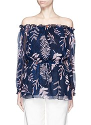Diane Von Furstenberg 'Camila' Leaf Print Chiffon Off Shoulder Blouse Multi Colour