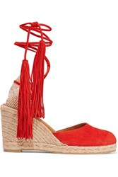 Castaner Carina Tasseled Suede Wedge Espadrilles Red