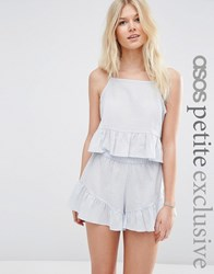 Asos Petite Exclusive Textured Beach Frill Top Co Ord Pale Blue Multi