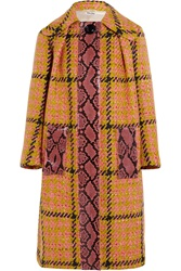 Miu Miu Python Trimmed Houndstooth Wool And Cotton Blend Coat