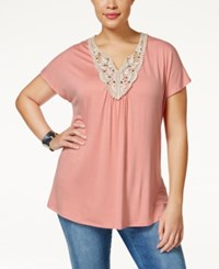 Ing Plus Size Short Sleeve Crochet Top Salmon