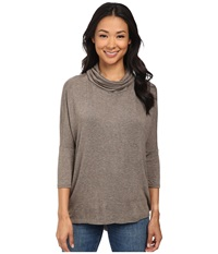 Bobeau Cowl Neck Knit Top Taupe Women's Short Sleeve Pullover