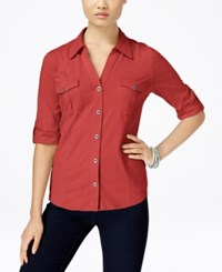 Styleandco. Style And Co. Roll Tab Jersey Button Down Shirt Only At Macy's Deep Sea Coral