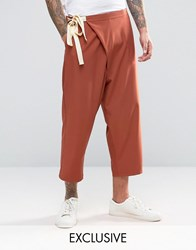 Reclaimed Vintage Wrap Trousers Rust Orange