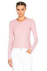 James Perse Long Sleeve Crew Top In Pink