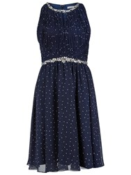 Gina Bacconi Embellished Spot Print Dress Navy White