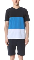 Capital Goods Block Pique Tee Navy Bright Blue White