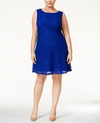 Connected Plus Size Lace A Line Dress Med Blue