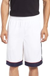 Under Armour Men's 'Baseline' Moisture Wicking Basketball Shorts White Red