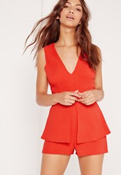 Missguided Crepe Sleeveless Origami Playsuit Red Red