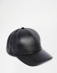 Asos Baseball Cap In Black Faux Leather Black