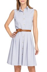 Petite Women's Tahari Sleeveless Seersucker Shirtdress