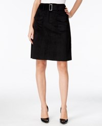 Catherine Malandrino Vernon Belted Faux Suede A Line Skirt Blackbird