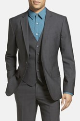 Calibrate Trim Fit Wool And Mohair Blazer Gray