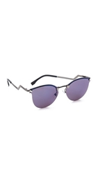 Fendi Rimless Bottom Sunglasses Dark Ruthenium Blue Sky