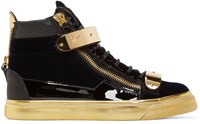 Giuseppe Zanotti Black And Gold Velvet London High Top Sneakers