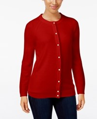 Karen Scott Crew Neck Cardigan Only At Macy's Red Cherry