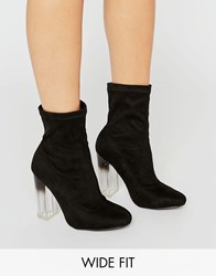 New Look Wide Fit Suedette Heeled Ankle Boot Black
