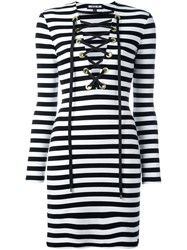House Of Holland Striped Lace Up Dress Black