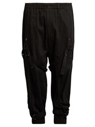 Yohji Yamamoto Leg Harness Tapered Leg Wool Drill Trousers Black