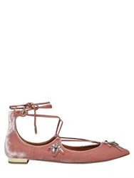 Aquazzura 10Mm Christy Embellished Velvet Flats