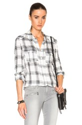 Paige Denim Mya Top In White Checkered And Plaid