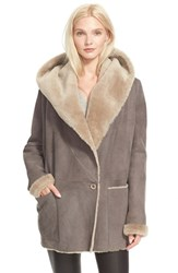 Women's Vince Hooded Genuine Shearling Jacket Grey