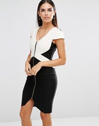 Vesper Monochrome Pencil Dress With Zip Front Black Ivory