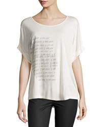 Haute Hippie I Am Love Dolman Tee Swan Coal