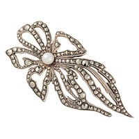 Susan Caplan Vintage 1950S Sterling Silver Marcasite And Freshwater Pearl Floral Brooch Silver