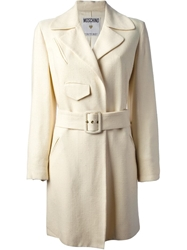 Moschino Vintage Belted Coat Nude And Neutrals