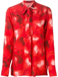 Valentino Heart Print Blouse Red