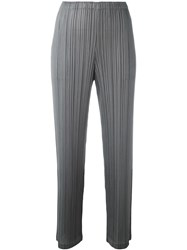 Issey Miyake Pleats Please By Pleated Cropped Trousers Grey