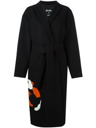 Msgm Oversized Coat Black