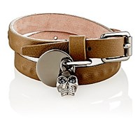 Alexander Mcqueen Men's Leather And Skull Charm Double Wrap Bracelet Dark Green