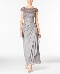 Msk Embellished Ruched Cascade Gown Silver