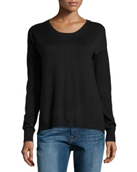 Neiman Marcus Scoop Neck High Low Sweater Black