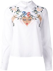 Vivetta Floral Embroidery Shirt White