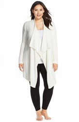 Plus Size Women's Barefoot Dreams Cable Knit Drape Front Cardigan Pearl