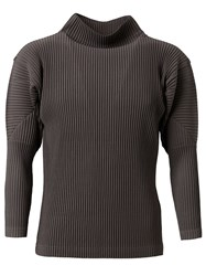 Issey Miyake Funnel Neck Pleated Sweater Grey