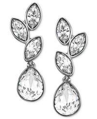 Swarovski Earrings Rhodium Plated Crystal Cluster Drop Earrings