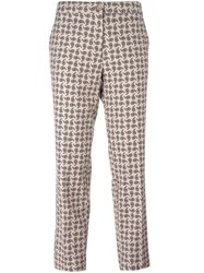 Etro Paisley Print Trousers Nude Neutrals