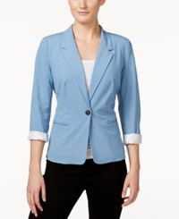 Kensie Three Quarter Sleeve Blazer Heather Chambray