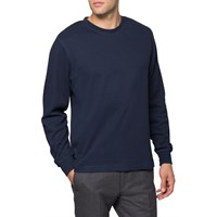 Sunspel Navy Crew Neck Sweater Blue
